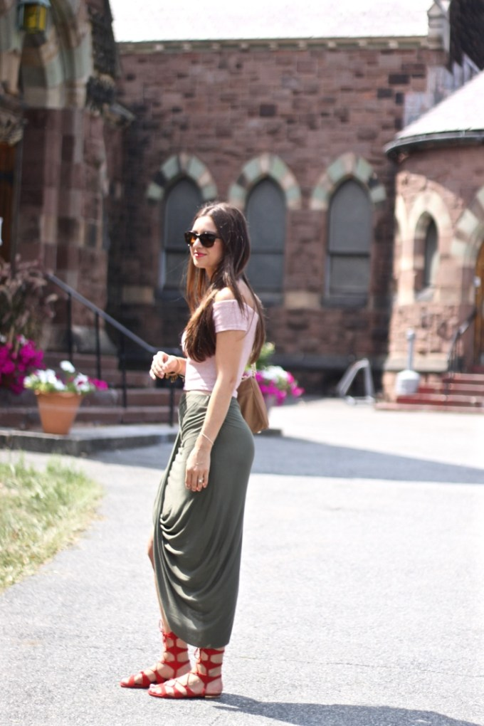 Loop Front Asymmetrical Olive Skirt and Striped Red/White Crop Top