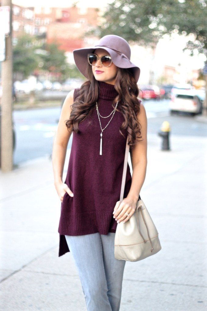 Primark Burgundy Sleeveless Roll Neck Sweater; JBrand Martini Flare Jeans; BCBG Lavender Floppy Wool Hat