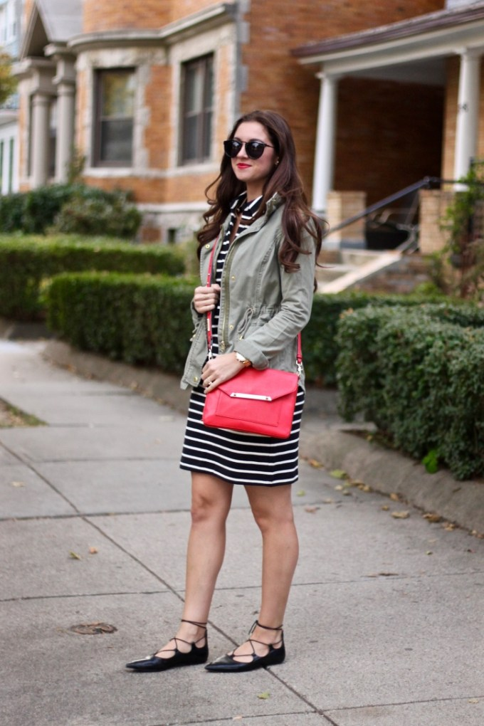 Black and White Cotton Striped Shift, Green Army Jackets, Black Topshop Lace-up Flats, Red Crossbody