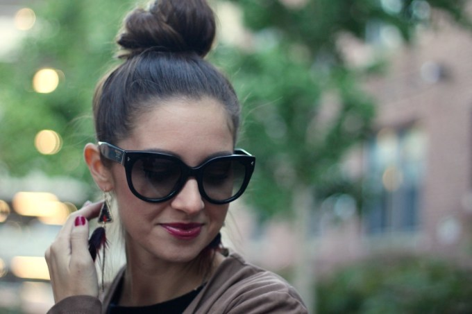Express Red/Plum feather Earrings, Suede Waterfall Jacket, Easy Topknot Bun