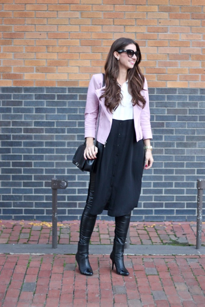 Baby Pink Leather Jacket, Colorblock maxi blouse,
