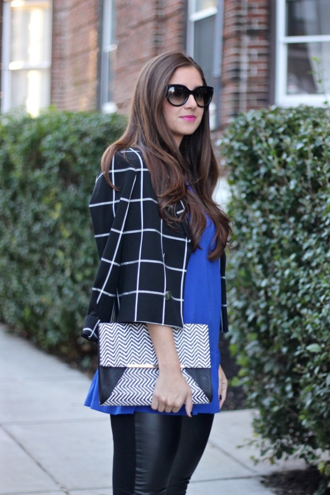 Windowpane Blazer and Zigzag Black/White CLutch