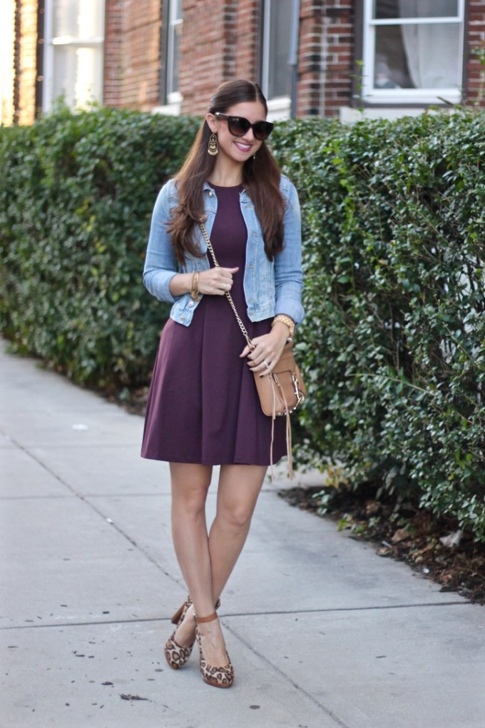 Cynthia Rowley Wine Colored Dress, Denim Jacket and Leopard Chunky Heels