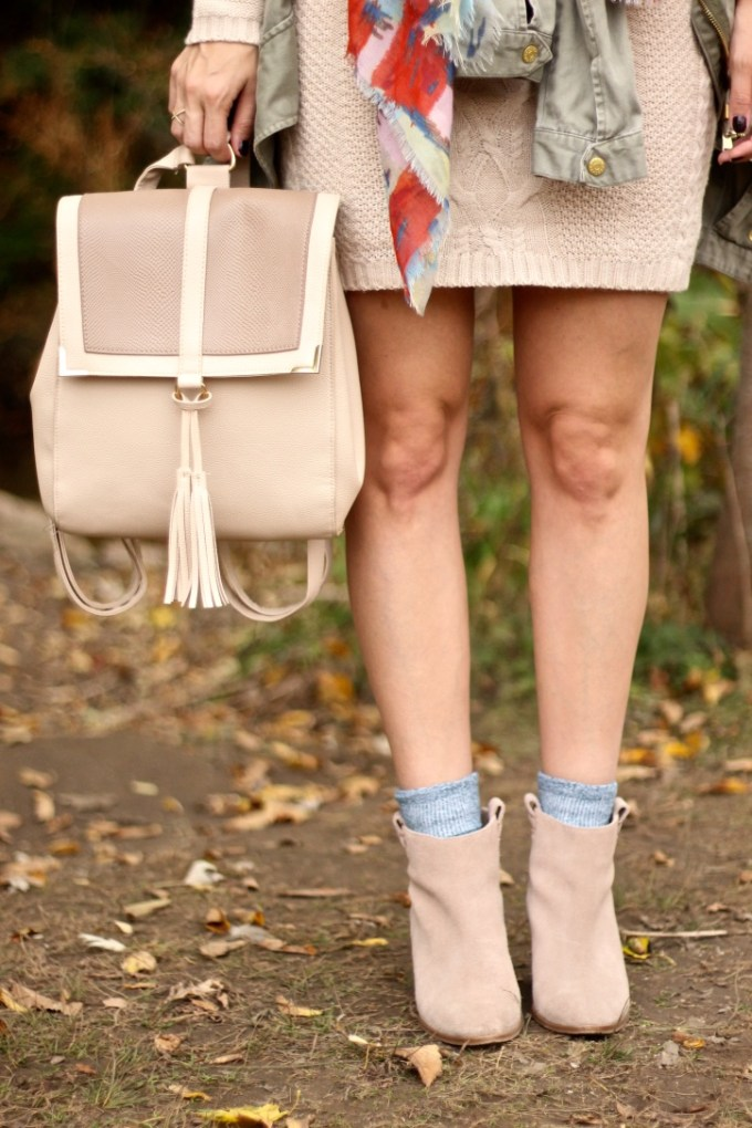 Beige Backback; Sock and Ankle Booties