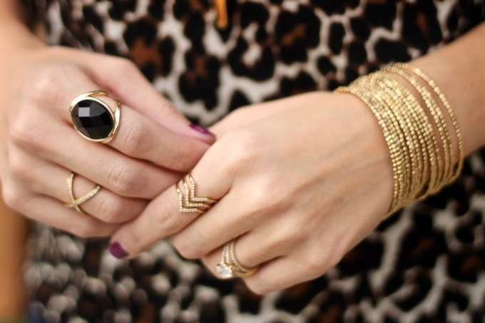 Expres Black, Onyx Ring, J.Crew Tippi Leopard Cardigan Sweater