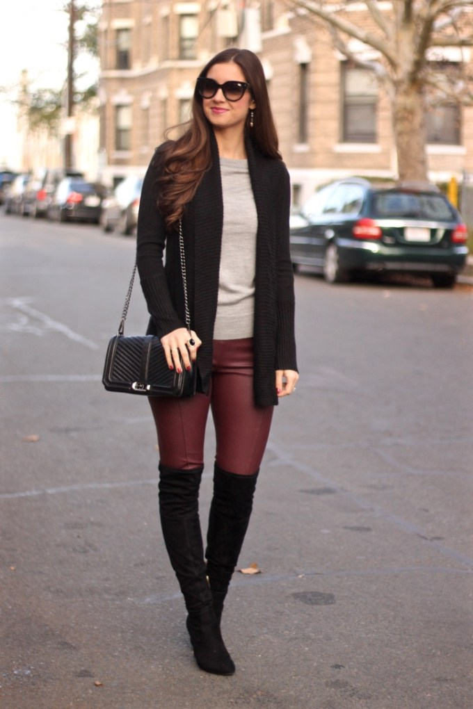 Glamorous Faux Leather Burgundy Leggings , Black Suede Ivanka Trump Over the Knee Sarena Boots