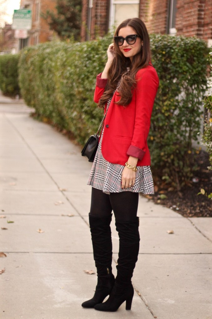 Red Blazer, Checkered Plaid Glamorous Shift Dress, Ivanka Trump Black Suede Over-the-Knee Boots