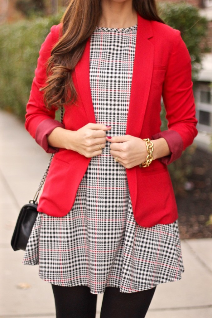 Red Blazer, Checkered Plaid Glamorous Shift Dress