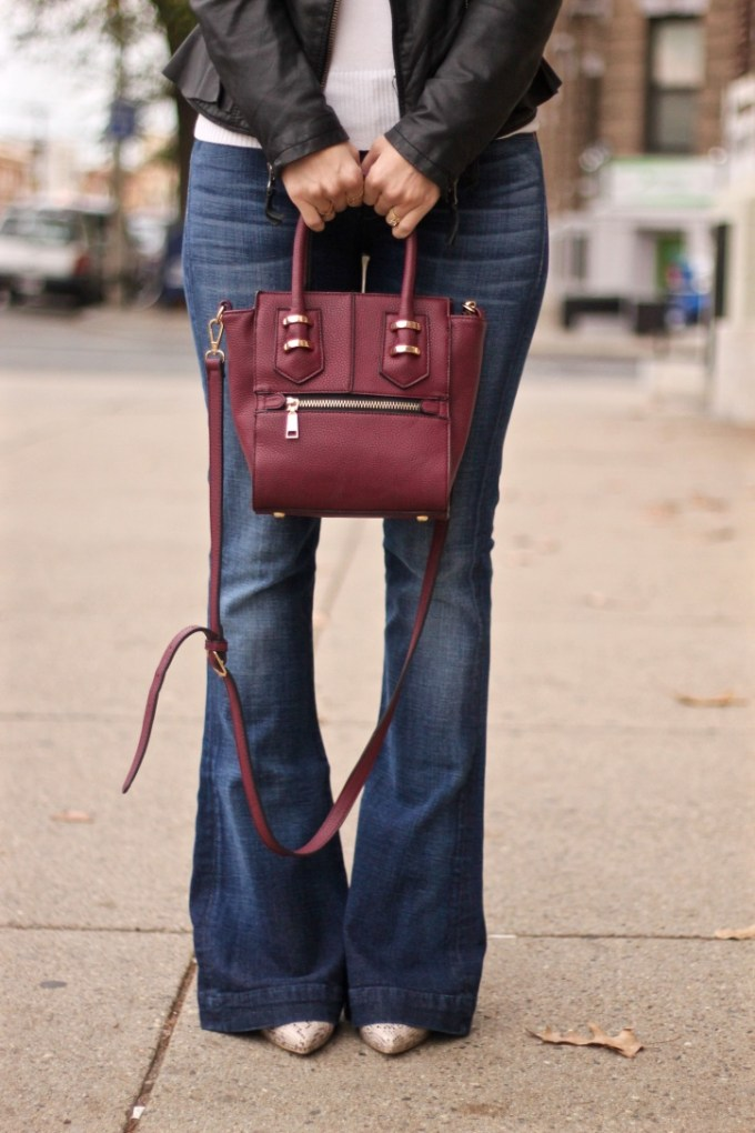 Ruffled Peplum Leather Jacket, Burgundy Crossbody Bag, 7FAM Flared Jeans