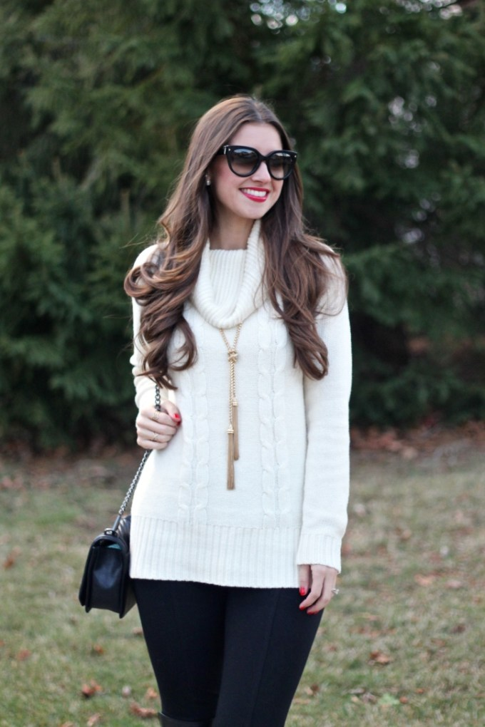Cream Cable Knit Tunic Sweater, Gold Tassel Nacklace