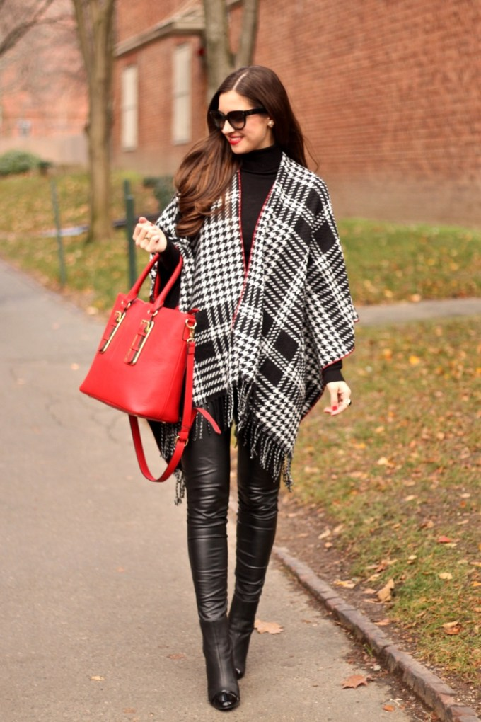 Charming Charlie Reversible Houndstooth Ruana, Red Serra Pebbled Tote