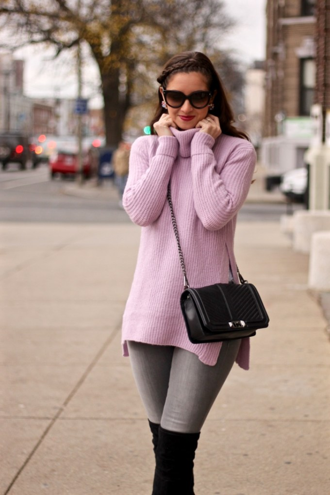 Asos Pale Pink Lavender High Side Slide Sweater, Rag N Bone Grey Skinny Jeans