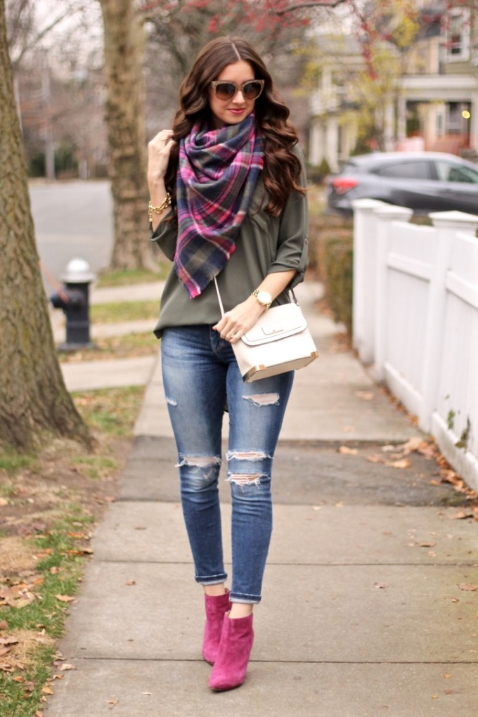 Lush Olive Green Roll Tab Sleeve Tunic, Joe's Ripped Girlfriend Jeans, Express Olive Green Plaid Scarf, Cole Haan Air Verdi Bootie in Wine
