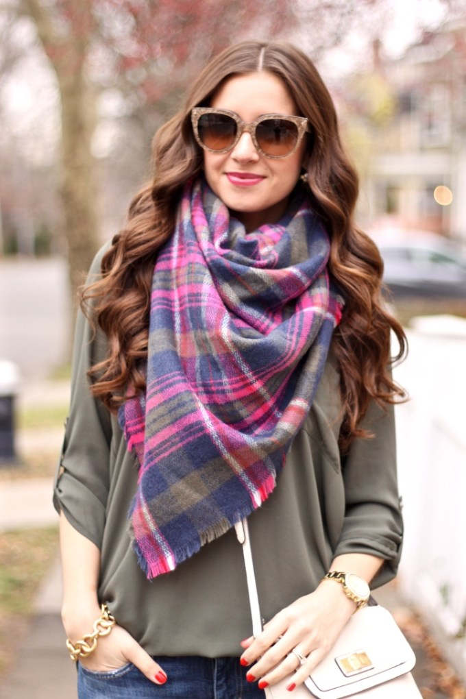 Lush Olive Green Roll Tab Sleeve Tunic, Express Olive Green Plaid Scarf, Prada Cat's Eye Sunglasses in Lace Sand