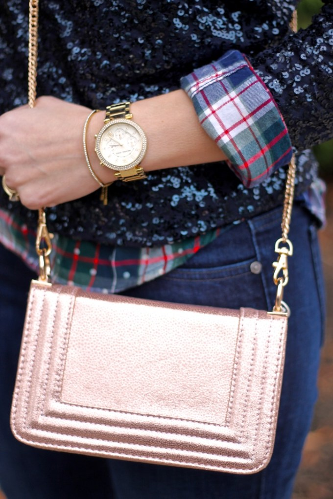 Casual Holiday Christmas Party Outfit, Sequin Sweater with Plaid Button Down, Rose gold Crossbody