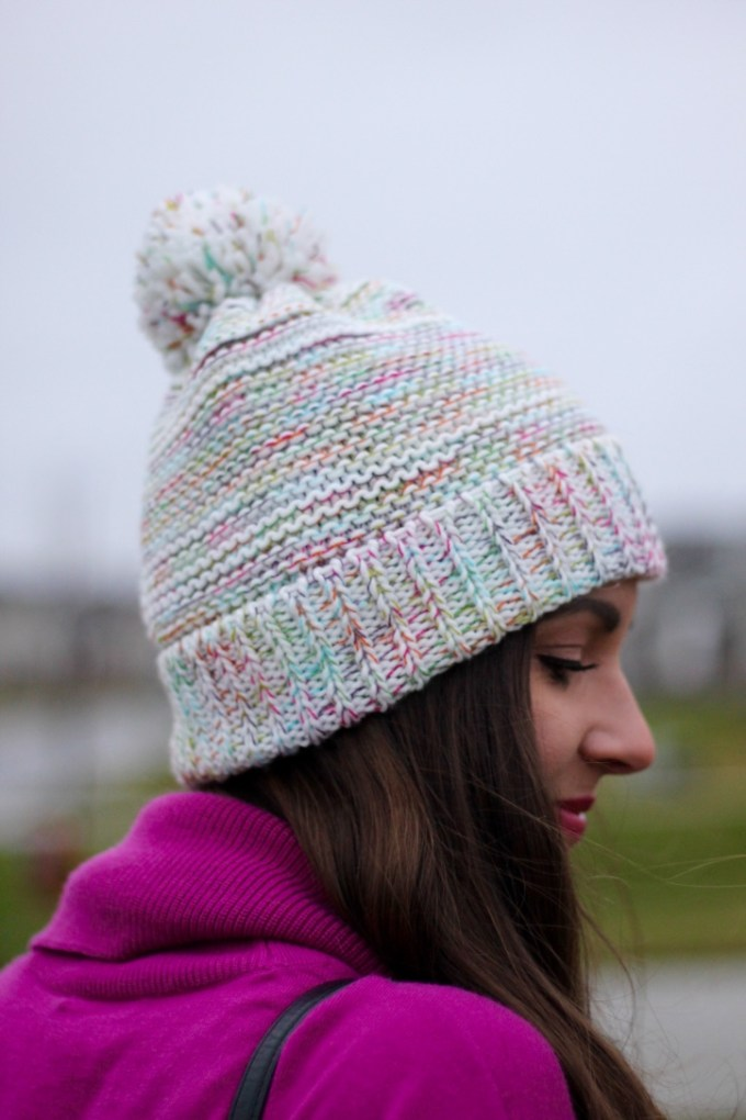 Multicolored Pom Pom Beanie Hat