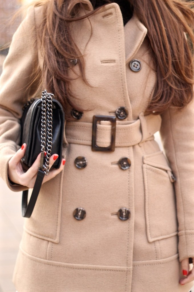 Double Breasted Camel Peacoat, Black and White Striped High-waisted Skirt