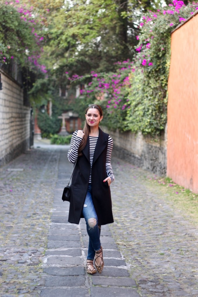 La Mariposa San Angel, Mexico City, Black Zara Long Vest, Pointy Lace-up Leopard Flats