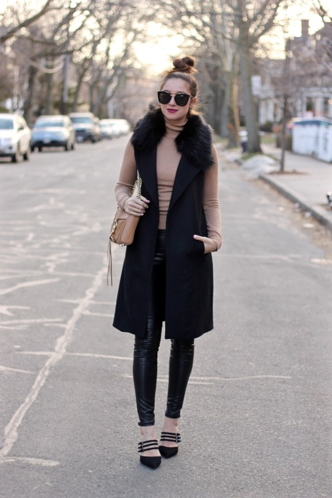 Long Black Vest with detachable faux fur collar