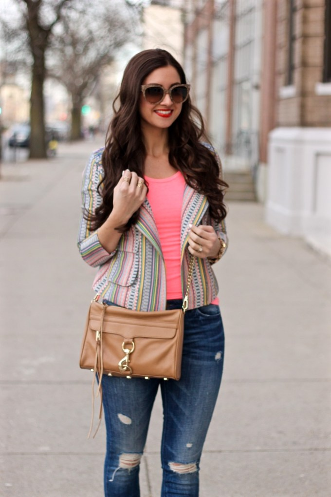 Spring Outfit Inspo, colorful blazer, spring brights and pastels
