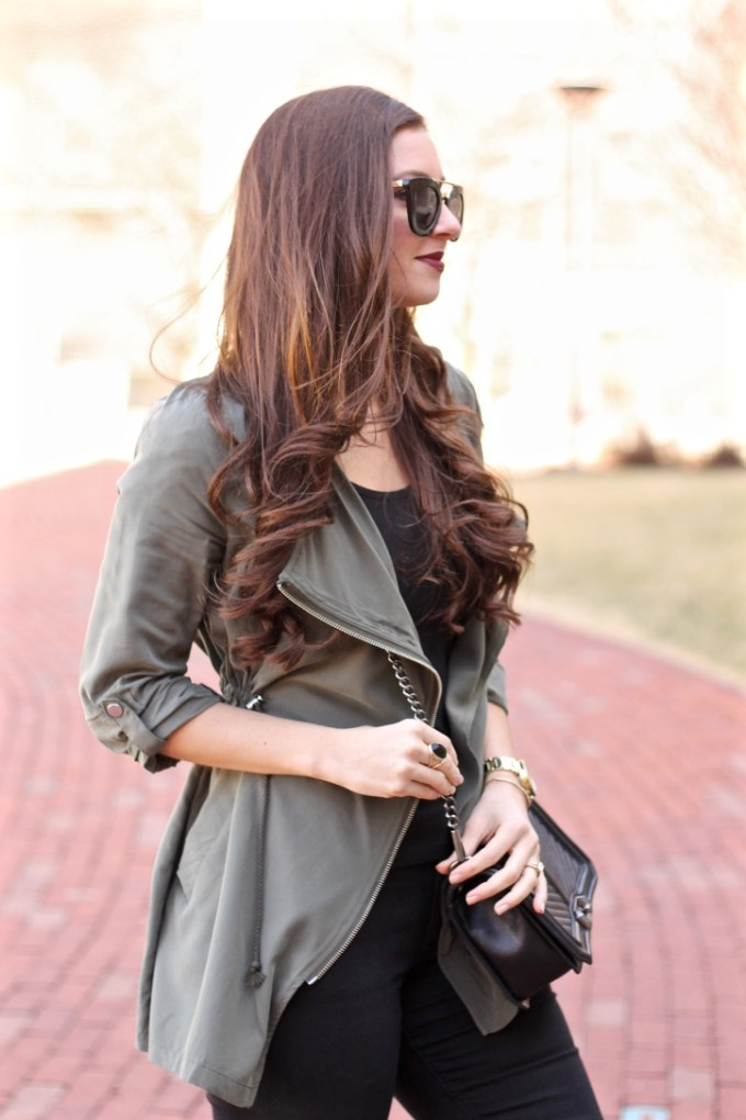 H&M Olive Green Parka with Hood, Casual Green Parka