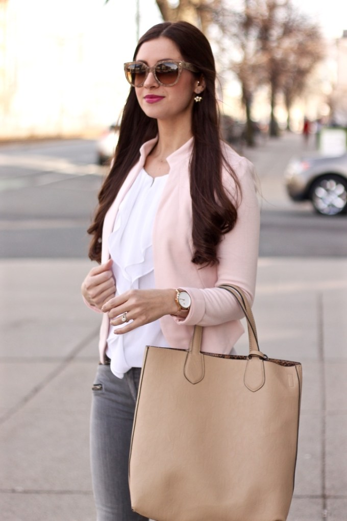 New Look Blush Tailored Jacket, Ruffled Blouse, Blush Blazer, La Mariposa Blog