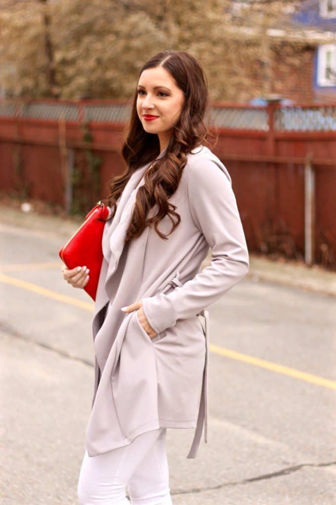 Grey Crepe Waterfall Spring Jacket