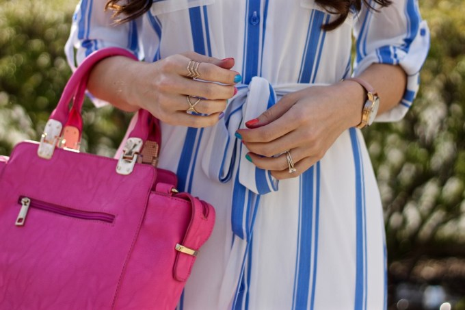 Blue & White stripes with Pink