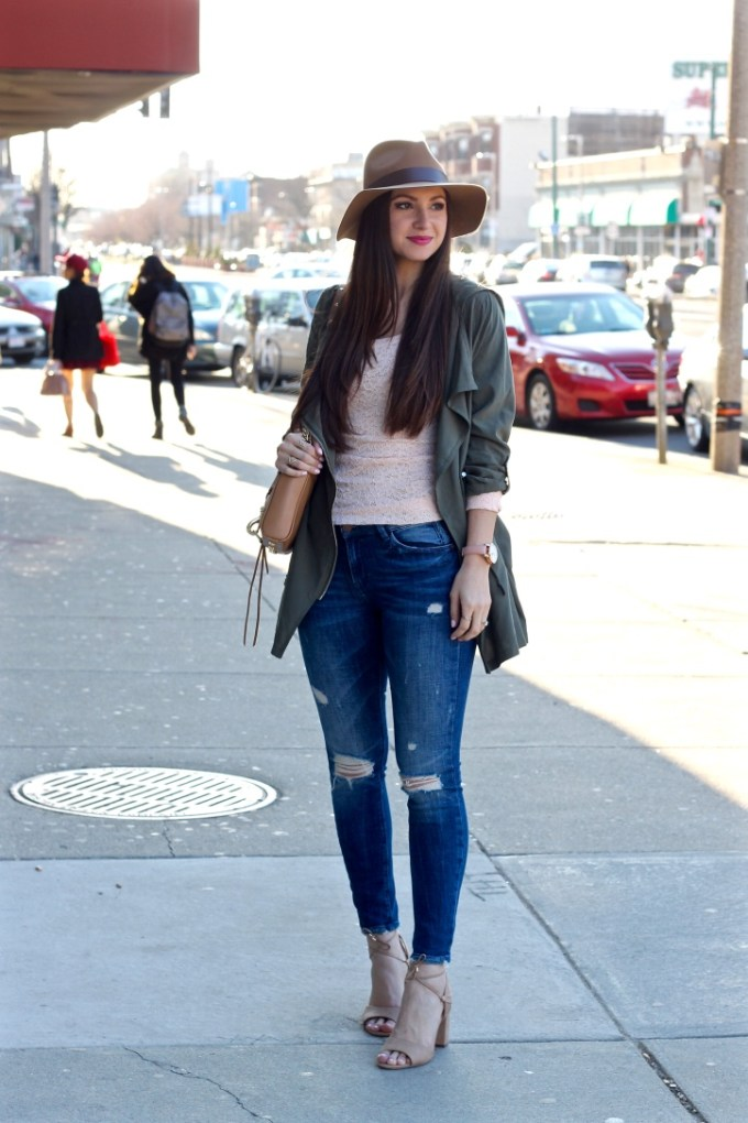 Casual H&M Style, Peach and Olive Green, Tan Fedora