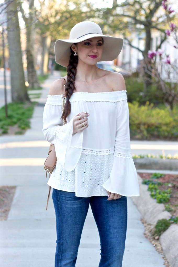 Off the shoulder flared white eyelet blouse, flares jeans, styling flares jeans