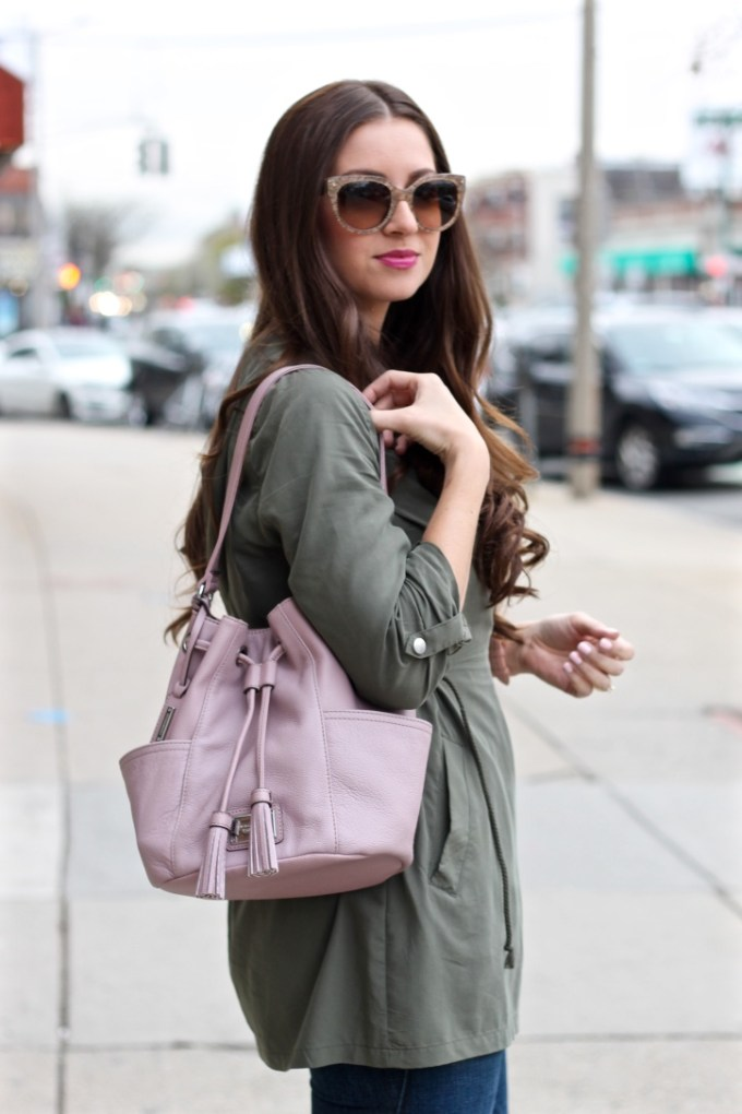 Tignanello Lavender Bucket Bag Purse