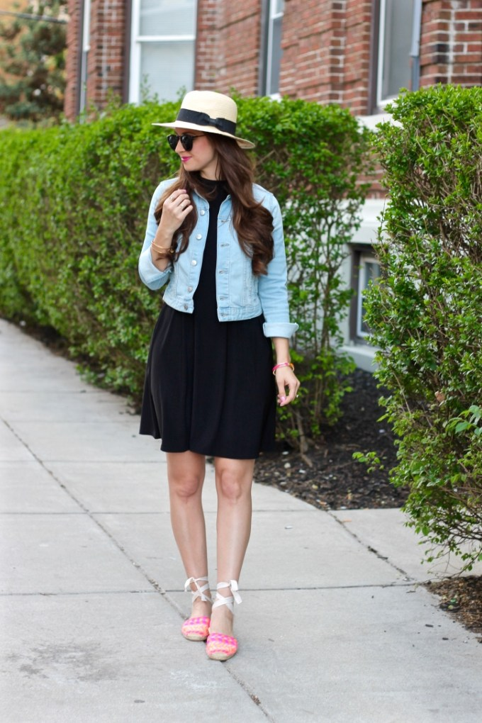 Styling a Straw Fedora, LBD and Pink Soludos Flats
