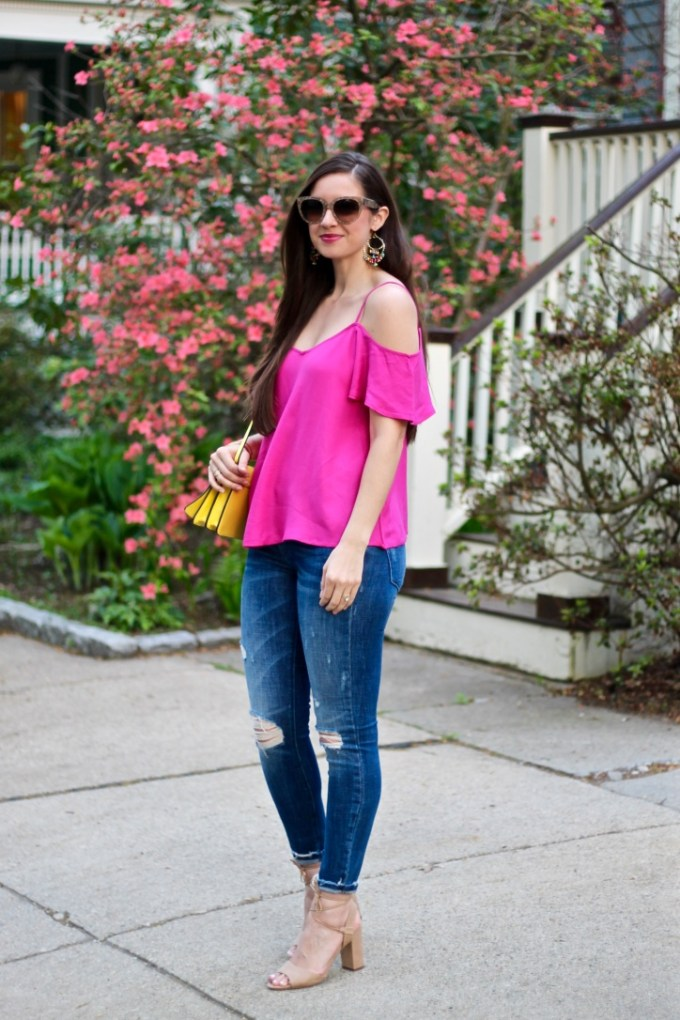 BP Pink Cold Shoulder Top, Yellow Crossbody Bag
