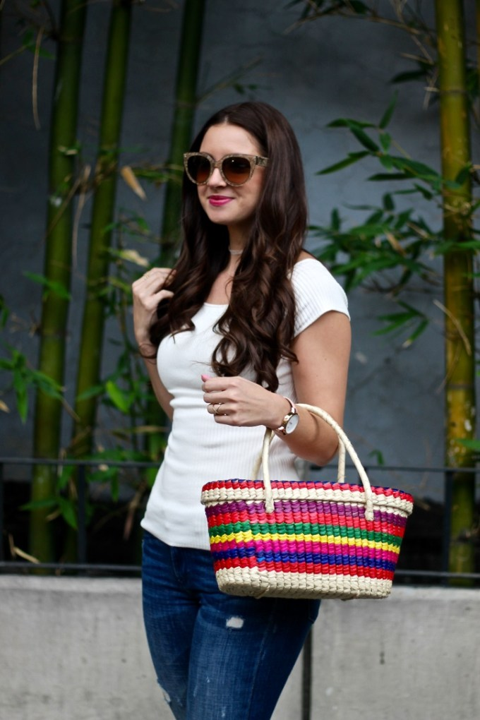 Colorful Mexican Straw Picnic Basket, Colorful Tassel Pompom Shoes