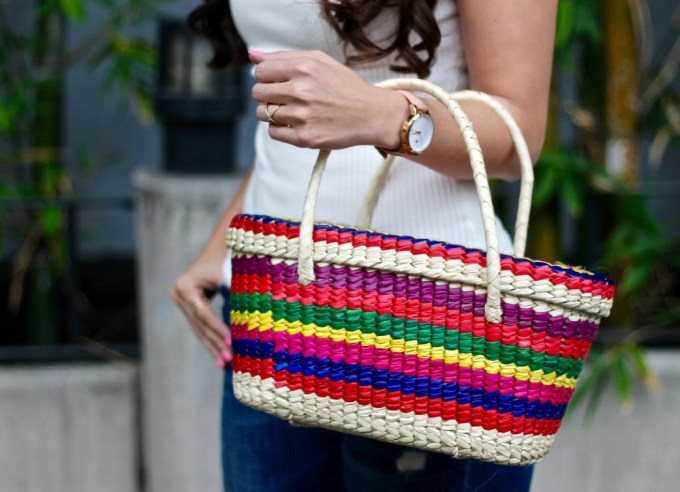 Colorful Mexican Straw Picnic Basket