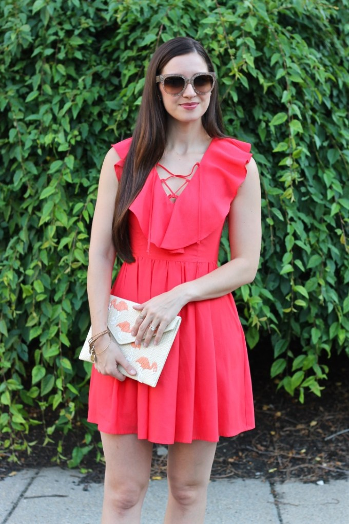 La Mariposa, Express Pindot Lace-up Ruffle Fit & Flare Dress in Sour Cherry Red