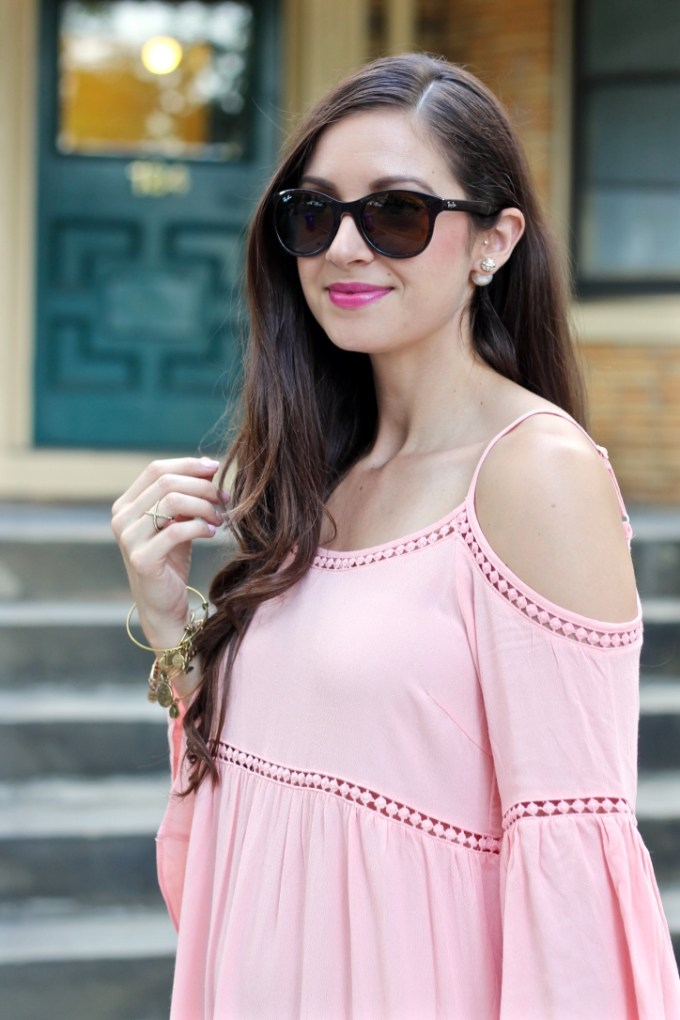 Dusty Pink Cold Shoulder Crochet Eyelet Dress, Cold Shoulder Summer Dress
