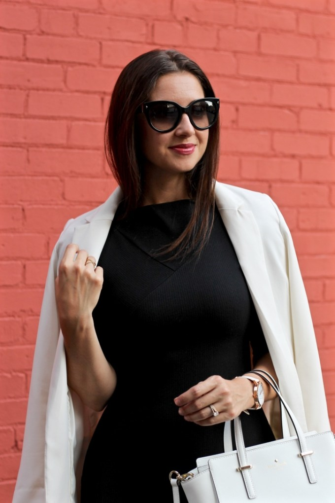La Mariposa, Sleek White Blazer, Styling an LBD for work, LBD at the office, Leopard Pumps, 9 to 5 outfit