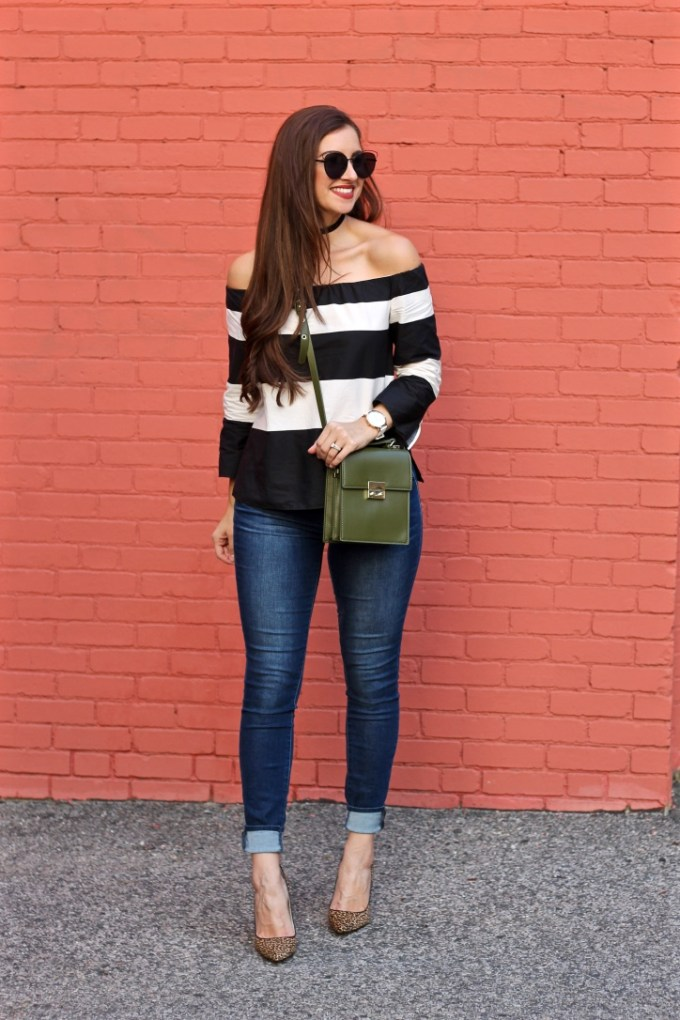 La Mariposa Blog, Boston Fashion Blog, Striped Off the Shoulder Shirt, Kristen Kylie Cosmetics Lipkit, Red Matte Lipstick, Olive Green Purse, Nine West Leopard Pumps
