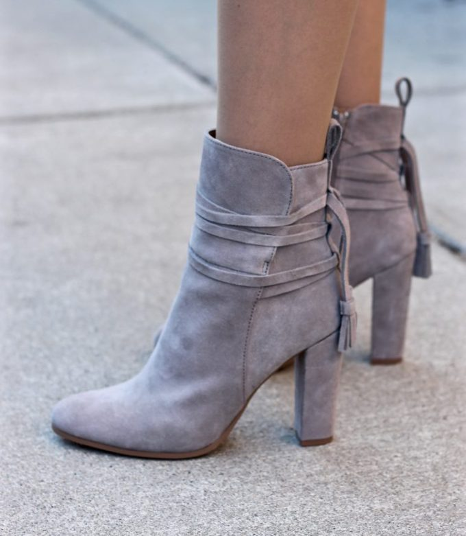 Steve Madden Glorria Suede Grey Block Heel Boot