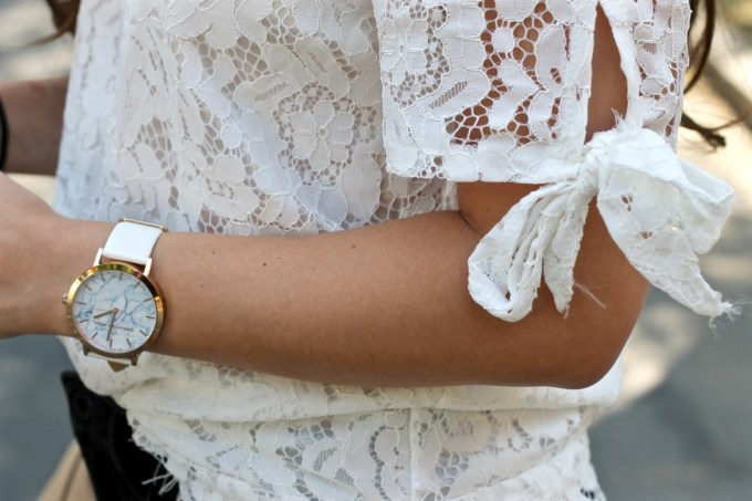 La Mariposa Boston Blogger, White Lace Off the Shoulder Top, Christian Paul White Marbled Watch