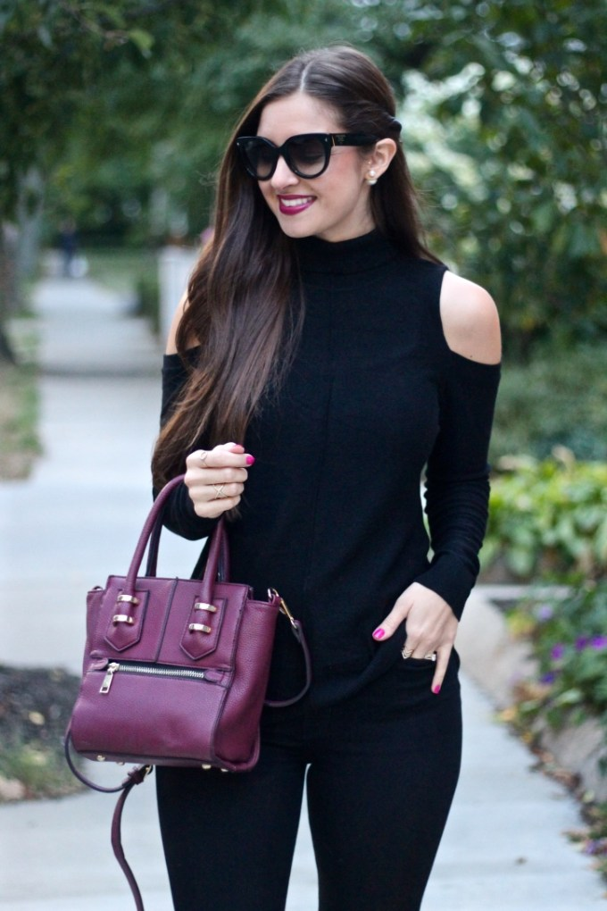 La Mariposa Boston Blog, Trouve Cold Shoulder Black Turtleneck Sweater, Fall's best sweater, Boston Fashion Blog