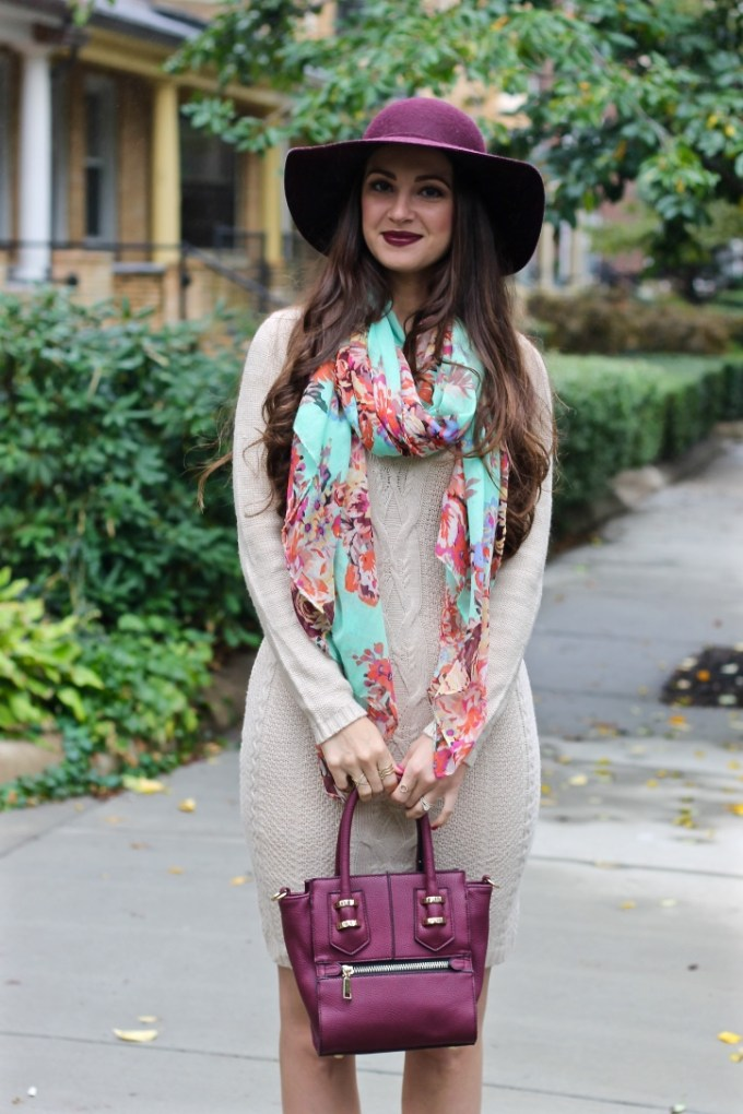 La Mariposa Blog, Burgundy Floppy Hat, Fall Hat, Sweater Dress, Tan Sweater Dress, Boston Fashion Blog, Fall Outfit Idea, MAC Media Lipstick