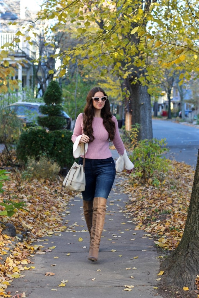 Pink Contrast Bell Sleeve Sweater, Taupe Leather OTK Boots