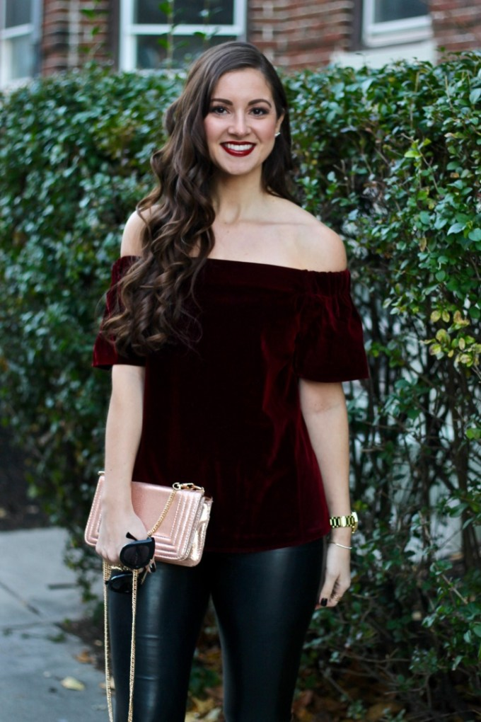 Asos Off the Shoulder Top in Burgundy Velvet, Holiday Outfit Idea, Cheap Black Leather Leggings , Rose-gold Metallic Purse