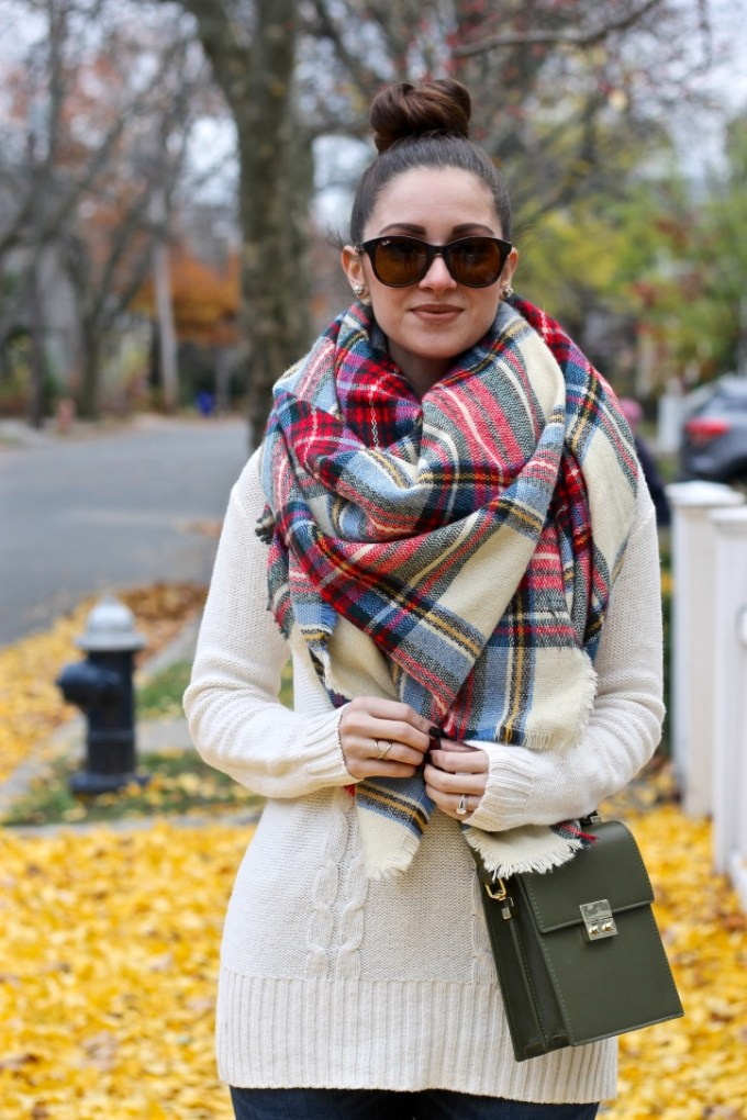 Plaid Tartan Oversides Scarf, Thanksgiving Outfit Idea