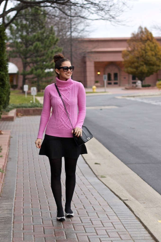 J.Crew Cambridge cable turtleneck sweater in pink, baby pink turtleneck sweater, snakeskin flats