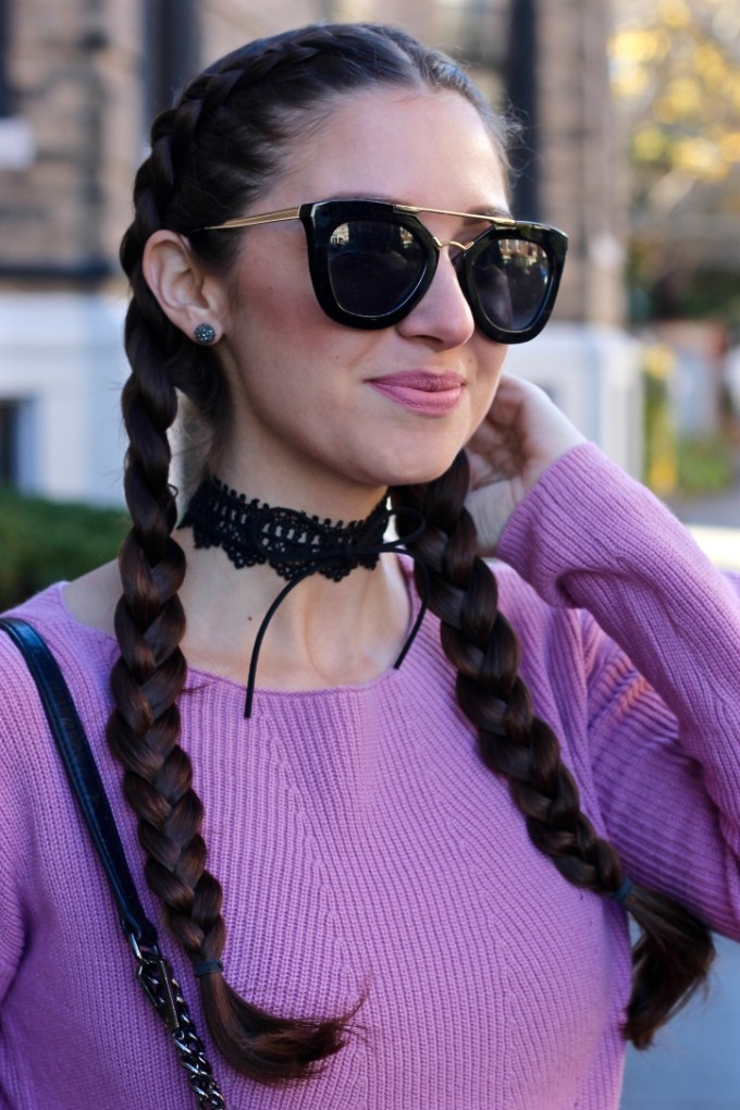 BaubleBar Florence Wrap Lace Choker with Bow, Kylie Matte Lipkit in Koko K, Mauve knit sweater, dupe Prada 49mm retro sunglasses