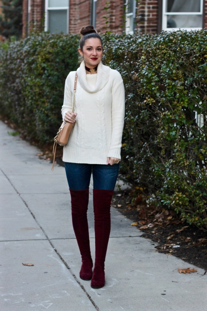 J.Crew Factory Cowl-neck ivory sweater, Aveda nourish-mint snap dragon red lipstick, Kaitlyn Pan burgundy suede otk boots