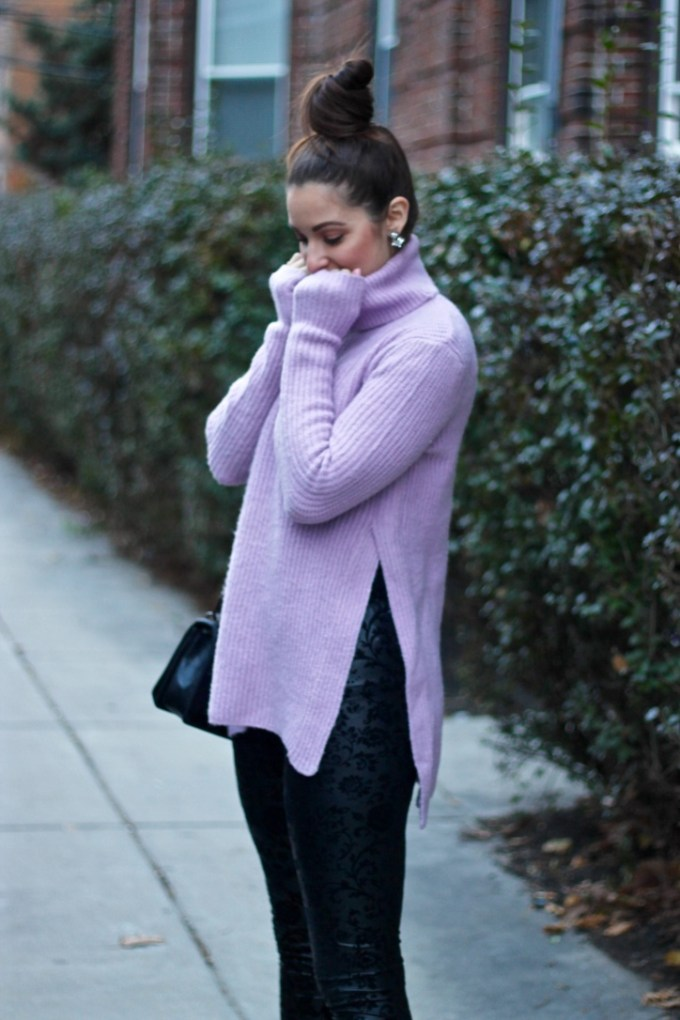 Asos lavender knit sweater, floral velvet leggings, Boston fashion blog, winter style